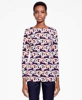 Brooks Brothers Arabesque Print Boatneck Top