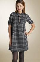 Plaid Flannel Ruffle Trim Dress