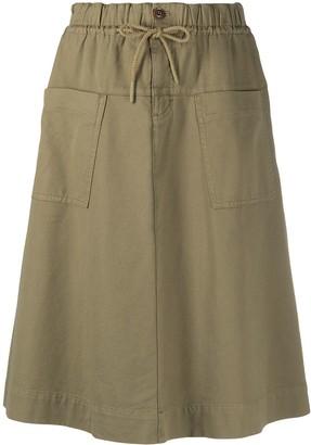 Closed drawstring A-line skirt