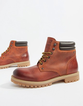 Jack and Jones leather lace up boots-Brown
