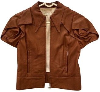 Miu Miu Brown Leather Leather Jacket for Women