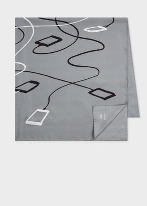 Paul Smith + Christoph Niemann - Grey 'Phone Charger' Print Silk Scarf