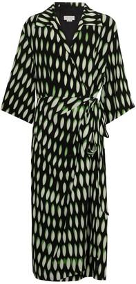 Dries Van Noten Printed crepe wrap dress