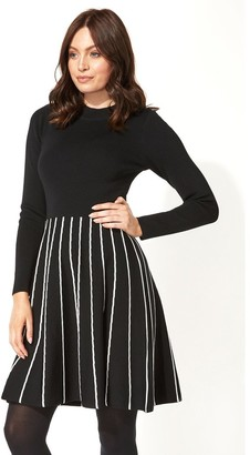 M&Co Roman Originals contrast fit and flare knitted dress