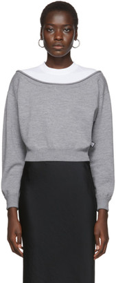 alexanderwang.t Grey Cropped Bi-Layer Sweater