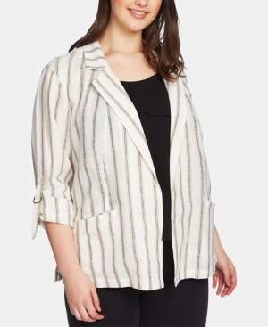 1 STATE 1.State 1.state Plus Size Striped Roll-Sleeve Jacket