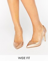 Faith Wide Fit Cliff Rose Gold Metallic Cut Out Court Shoes