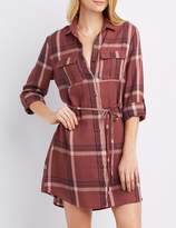 Charlotte Russe Plaid Button-Up Shirt Dress