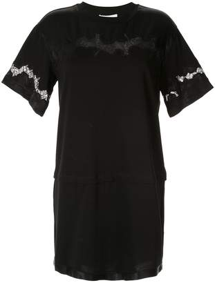 3.1 Phillip Lim Lace Insert Satin T-shirt Dress
