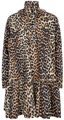 Ganni Leopard-print cotton poplin minidress