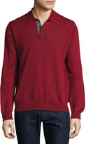 Neiman Marcus Rio Long-Sleeve Polo Sweater, Red