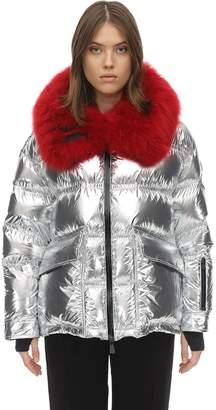 Moncler Atena Metallic Tech Nylon Down Jacket