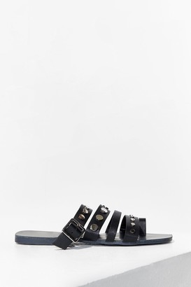 Nasty Gal Womens Stud Vibes Faux Leather Flat Sandals - Black