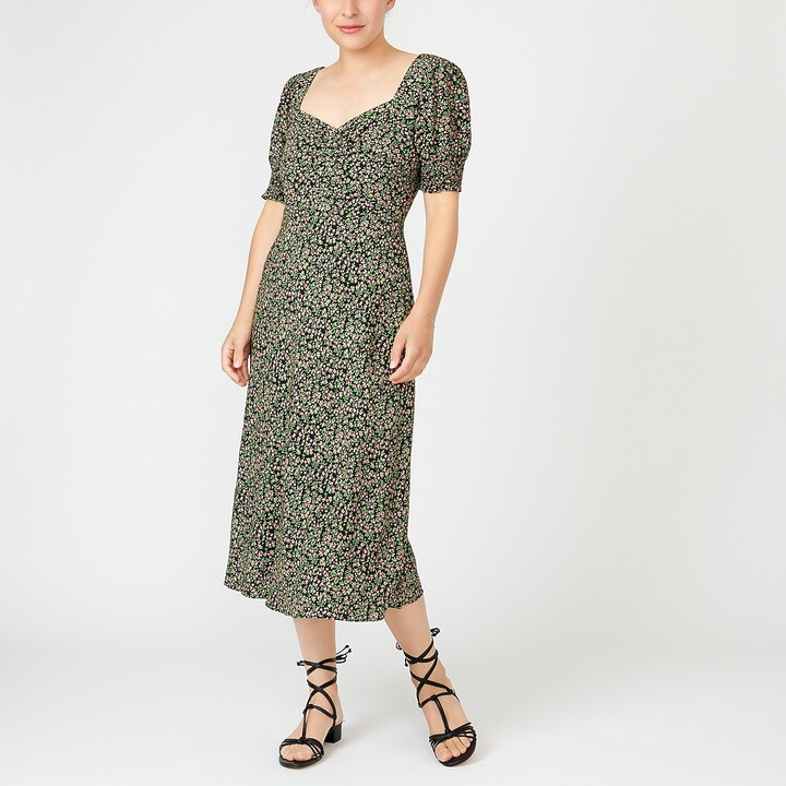 Thumbnail for your product : J.Crew Smocked-sleeve midi dress in floral