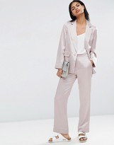 Asos Soft Satin Pajama Pant With Piping