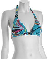 BCBGMAXAZRIA lagoon blue printed stretch nylon halter bikini top