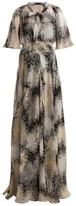 No.21 No. 21 - Chrysanthemum-print Silk-chiffon Maxi Dress - Womens - Black Multi