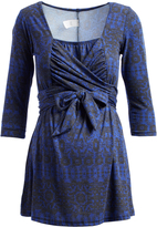 Glam Royal Blue Arabesque Maternity Wrap Tunic