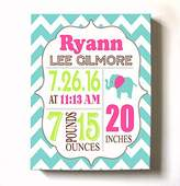 MuralMax Personalized Stretched Canvas Birth Announcement Gift, Custom Baby Name, Date, Weight Stats, Newborn Elephant Nursery Wall Art Decor, High Quality 100% Wooden Frame Construction, Ready To Hang 12X16