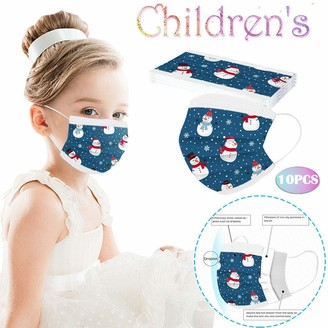 AC1 Children's Christmas Three-Layer Disposable Headband Cartoon Printing Bandana Blue