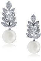 Lord & Taylor Faux Pearl, Cubic Zirconia and Sterling Silver Leaf Drop Earrings