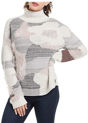 Nic+Zoe Fluffy Florals Sweater (Grey Multi) Women's Clothing
