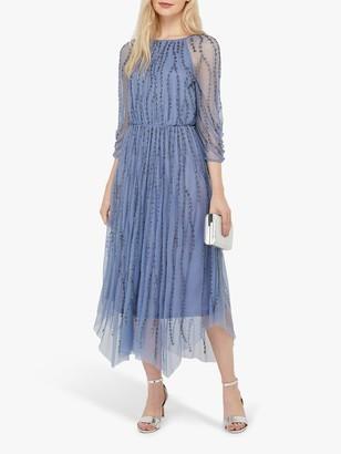Monsoon Lenamist Floral Embroidered Midi Dress, Blue