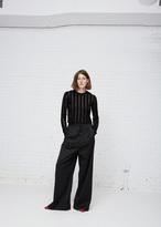 Proenza Schouler black striped cropped knit