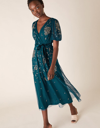 Monsoon Roza Embellished Midi Dress Teal