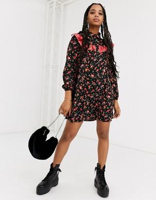 ASOS DESIGN shirt smock mini dress in black floral mixed print