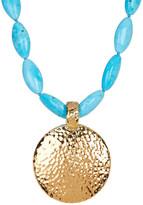 Simon Sebbag Round Hammered Pendant Turquoise Necklace