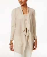 JM Collection Petite Shadow-Striped Draped Cardigan, Created for Macy's