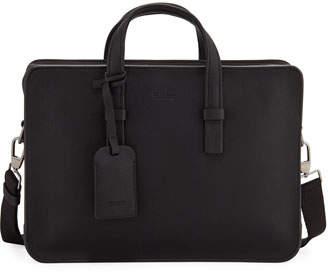 Giorgio Armani Men's Tumbled Calf Leather Briefcase, Black