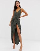 Asos Design DESIGN all over sequin drape maxi dress with horn buckle