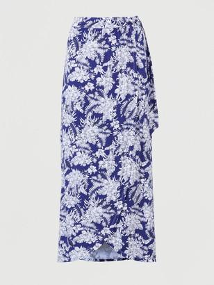 Very Tall Wrap Jersey Maxi Skirt - Navy/Print