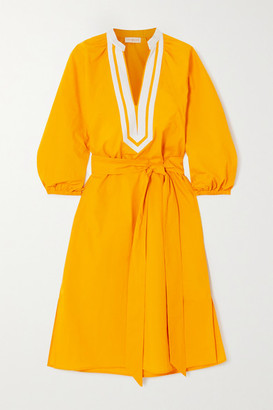 Tory Burch Belted Canvas-trimmed Cotton-poplin Dress - Yellow