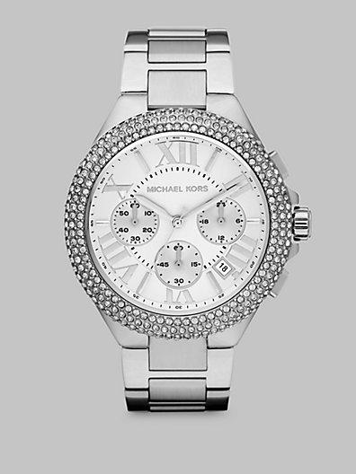 Michael Kors Crystal Stainless Steel Chronograph Watch/Silvertone