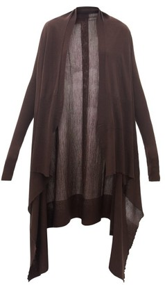 Rick Owens Longline Waterfall Merino-wool Cardigan - Womens - Brown