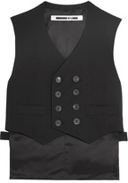 McQ by Alexander McQueen Double-breasted Stretch-wool Crepe And Satin Vest - Black