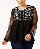 Style&Co. Style & Co Plus Size Embroidered Mesh-Sleeve Baby-Doll Top, Created for Macy's