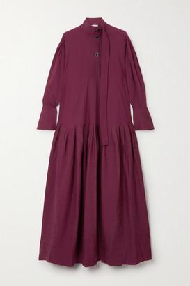 Palmer Harding palmer//harding - Kapori Tiered Embroidered Cotton-blend Poplin Maxi Dress - Burgundy
