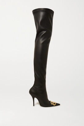 Balenciaga Logo-embellished Faux Leather Thigh Boots - Black