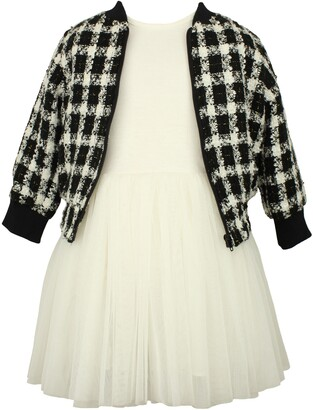 Popatu Tulle Dress with Check Jacket