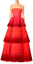 Carolina Herrera Strapless Tiered Ombré Ball Gown, Red