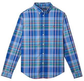 Polo Ralph Lauren Kids Plaid Cotton Poplin Shirt (Big Kids) (Blue Multi) Boy's Short Sleeve Button Up