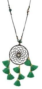 Aeravida Handmade Mystical Stone Dream Catcher Tassels Cotton Wax Rope Necklace