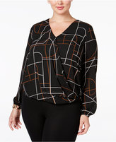 Alfani Plus Size Drapey Surplice Top, Only at Macy's