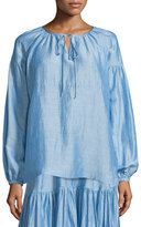 Co Long-Sleeve Tie-Neck Peasant Blouse, Light Blue