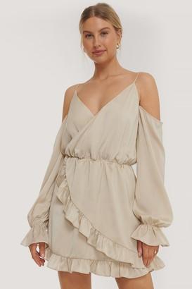 Nadine X NA-KD Slip Shoulders Flounce Mini Dress