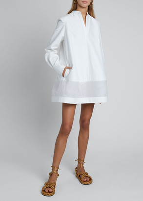 Valentino V-Neck Long-Sleeve Sheer Bottom Oversized Shirtdress